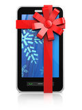 Mobile phone christmas gift. 3d illustration of mobile phone xmas gift Stock Images