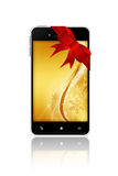 Mobile phone with christmas screen over white background Stock Images
