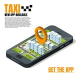 Mobile phone with city landscape. Online taxi advertising template vector illustration