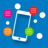 Mobile phone clipart on blue background Royalty Free Stock Photo