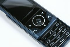 Mobile phone close -up. Mobile black phone isolated on white background Royalty Free Stock Photo