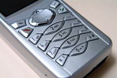 Mobile Phone Close Up. Close up of silver mobile phone Stock Photo