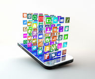 Mobile phone with cloud of application icons stock illustration