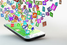 Mobile phone with cloud of application icons Stock Images