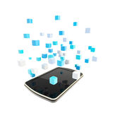 Mobile phone cloud computing concept Stock Photos