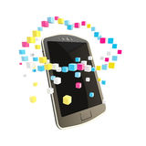 Mobile phone cloud computing concept stock illustration