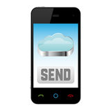 Mobile phone with cloud computing icon Royalty Free Stock Image