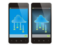 Mobile phone and cloud Stock Image