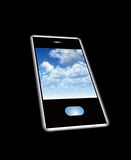 Mobile Phone With Cloud Screensaver. A mobile phone with a cloud screensaver Stock Photos