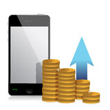 Mobile phone and coins Stock Photography