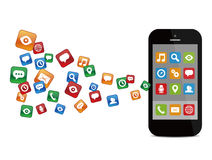 Mobile phone with colorful application icons Stock Photography