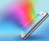 Mobile phone with colorful background Stock Photography