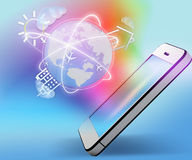 Mobile phone, colorful background and planet Royalty Free Stock Photography