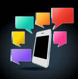 Mobile phone with colorful speech bubbles Stock Photo
