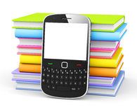 Mobile Phone with Colourful Books Royalty Free Stock Photos