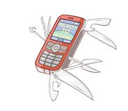 The mobile phone is combined with swiss knife Stock Photo