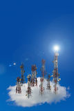 Mobile phone communication antenna tower with the blue sky and c. Louds, Telecommunication tower Stock Photo