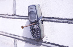 Mobile phone. Phone for mobile communication faulty stock photography