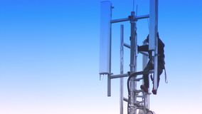 Mobile Phone Communication Radio Antenna – 4G Mobile Network - Maintenance Personnel stock footage