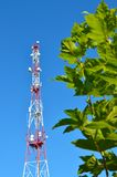 Mobile phone communication radio tv tower, mast, cell microwave antennas and transmitter against the blue sky and trees. Mobile phone communication radio tv stock image