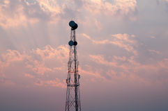 Mobile phone communication repeater antenna tower Stock Photo