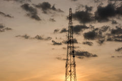 Mobile phone communication repeater antenna tower Royalty Free Stock Images