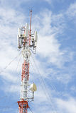 Mobile phone communication tower against blue sky. Royalty Free Stock Image