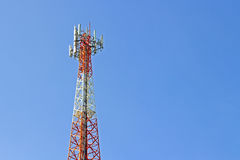 Mobile phone communication tower transmission  signal with blue Royalty Free Stock Images
