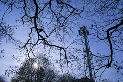 Mobile Phone Communications Tower. Photo Of A Mobile Phone Communications Tower Royalty Free Stock Photos