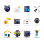 Mobile phone and computer icons Stock Photos