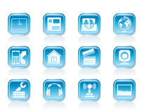 Mobile phone and computer icons Stock Photo