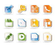 Mobile Phone, Computer and Internet Icons Stock Images