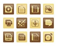 Mobile Phone, Computer and Internet Icons over brown background Stock Photos