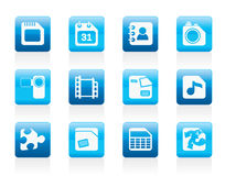 Mobile Phone, Computer and Internet Icons Stock Photos