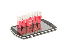 Mobile phone concept with words brand new Stock Photo