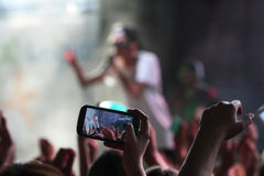 Mobile phone at a concert 3 royalty free stock image