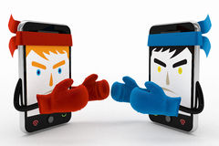 Mobile phone conflict or fight. 3d high quality render Royalty Free Stock Photos