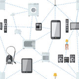 Mobile phone connected with house appliances, internet of things flat seamless pattern Stock Photography