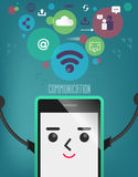 Mobile phone with connection bubble, communication, connection. Infographics background social media network. Concept Internet comunications Royalty Free Stock Image