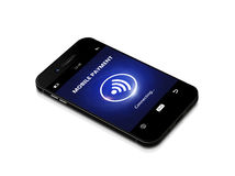 Mobile phone with contactless payment isolated over white backgr Royalty Free Stock Images