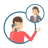 Mobile phone conversation between the two people. Mobile phone conversation between two people. Communication and dialog concept. Isolated vector illustration in stock illustration