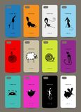 Mobile phone cover back , 12 funny animals for Stock Photos