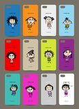 Mobile phone cover back , 12 funny girls for your Royalty Free Stock Images