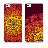 Mobile phone cover back pattern, template. Vector illustration. Editable elements under clipping mask. Phone case collection. Mobile phone cover back and screen royalty free illustration
