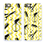 Mobile phone cover back pattern, template. Vector illustration. Editable elements under clipping mask. Phone case collection. Mobile phone cover back and screen Royalty Free Stock Photography