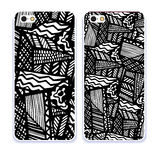 Mobile phone cover back pattern, template. Vector illustration. Editable elements under clipping mask. Phone case collection. Mobile phone cover back and screen Royalty Free Stock Images