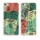 Mobile phone cover back pattern, template. Vector illustration. Editable elements under clipping mask. Phone case collection. Mobile phone cover back and screen Royalty Free Stock Photo