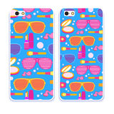 Mobile phone cover back pattern, template. Vector illustration. Editable elements under clipping mask. Phone case collection. Mobile phone cover back and screen stock illustration