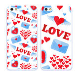 Mobile phone cover back pattern, template. Vector illustration. Editable elements under clipping mask. Phone case collection. Mobile phone cover back and screen Stock Photo