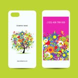 Mobile phone cover back and screen, floral tree Royalty Free Stock Images